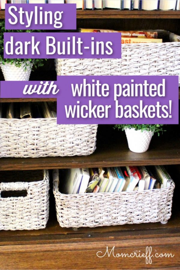 background of styled shelves with white baskets