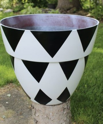 black and white triangle painted planter