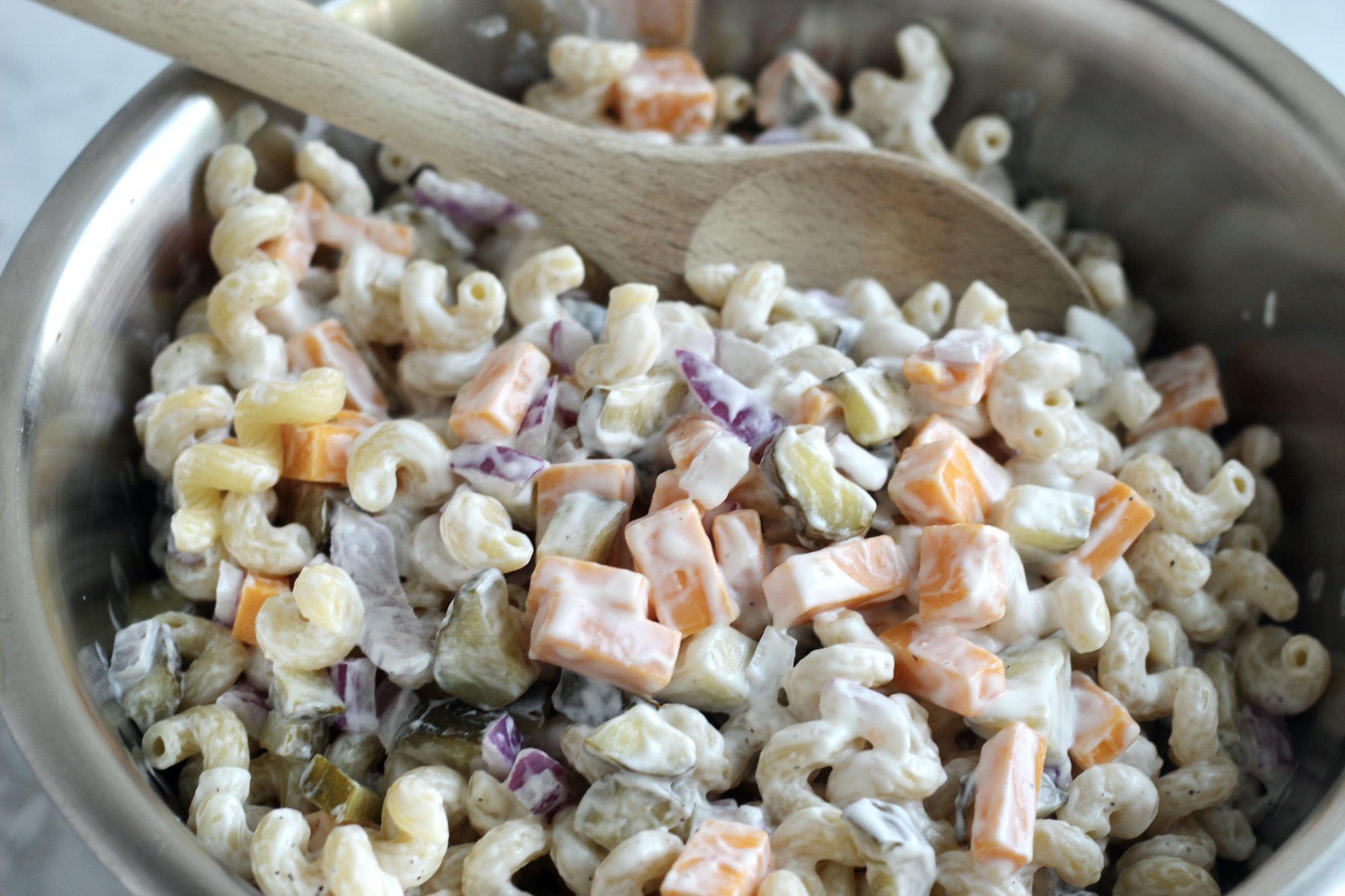 dill pickle pasta salad with a creamy sauce