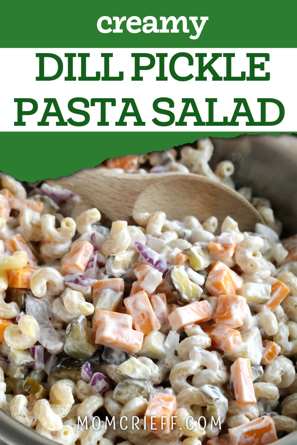 dill pickle pasta salad with text overlay